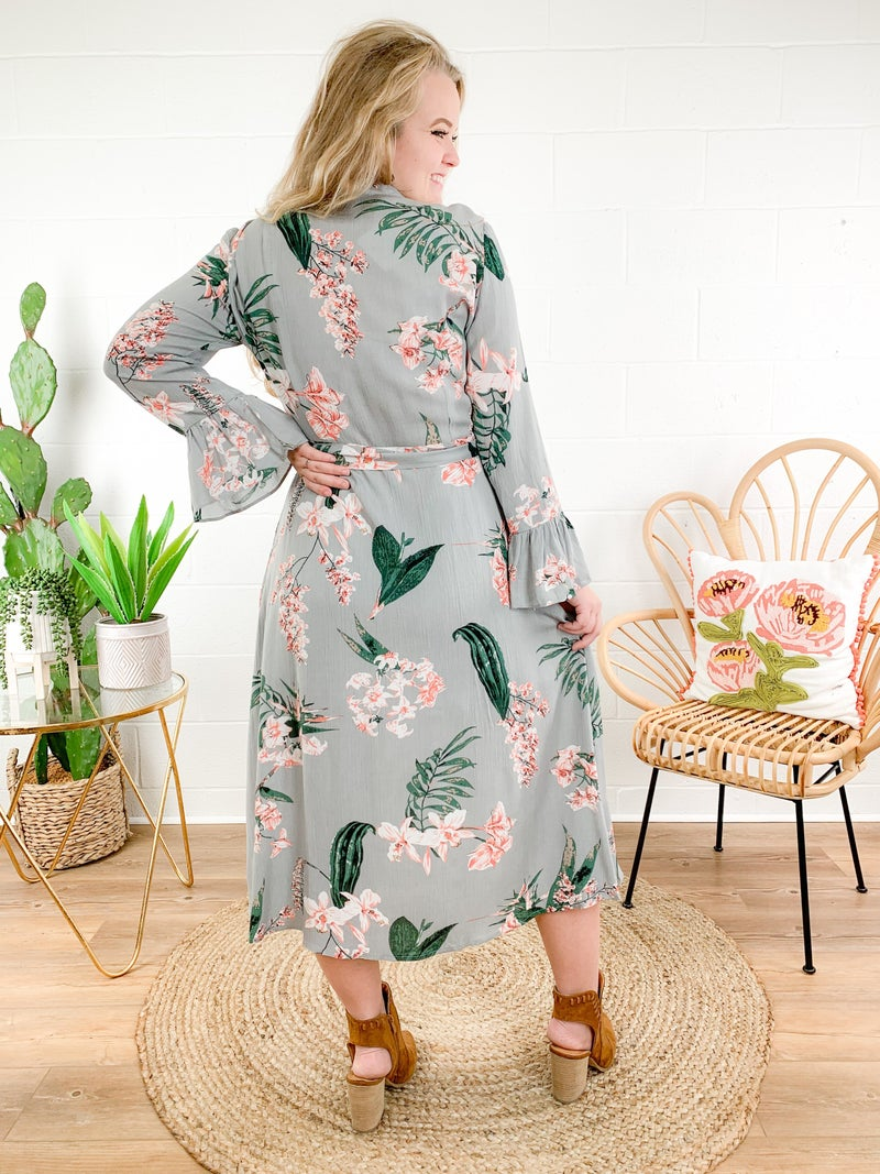 Botanical Floral Print Maxi Shirt Dress