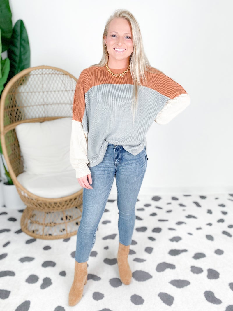 Loose Fit Color Block Sweater (Multiple Colors)
