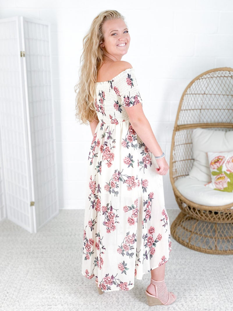 Floral Chiffon Off Shoulder Midi Dress with Smocked Details