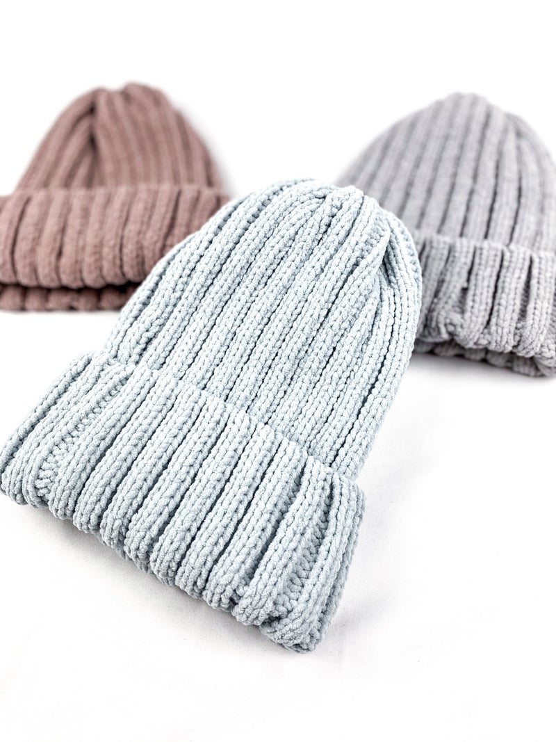 Ribbed Knit Beanie Hats (Multiple Colors)