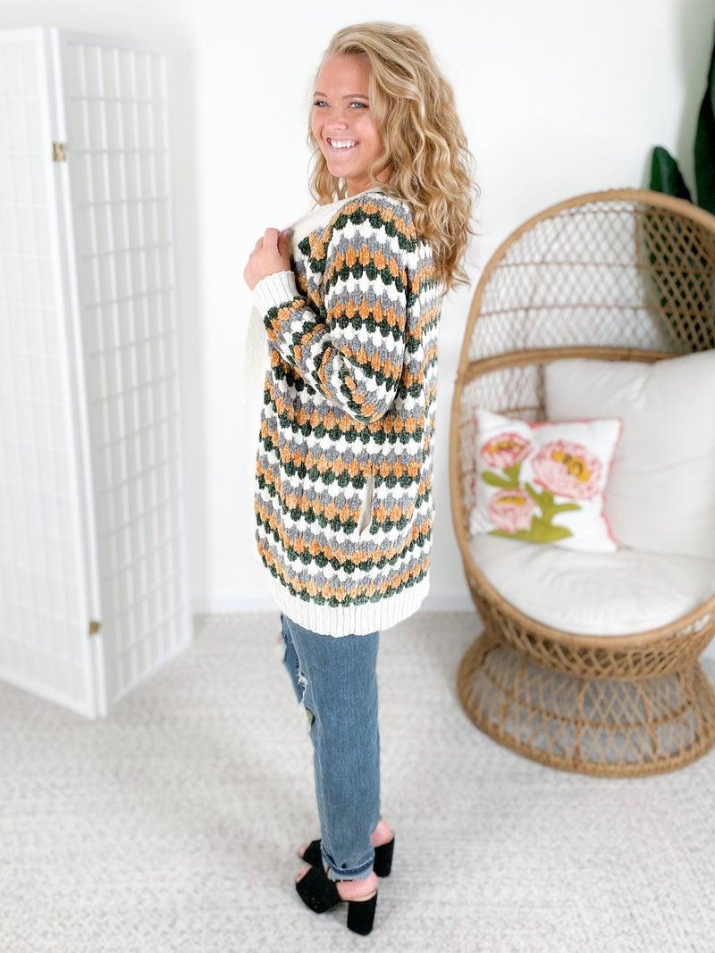 Diamond Knit Stripe Chenille Open Cardigan