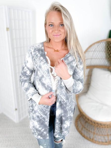 PLUS/REG Grey Cloudy Tie Dye Open Cardigan