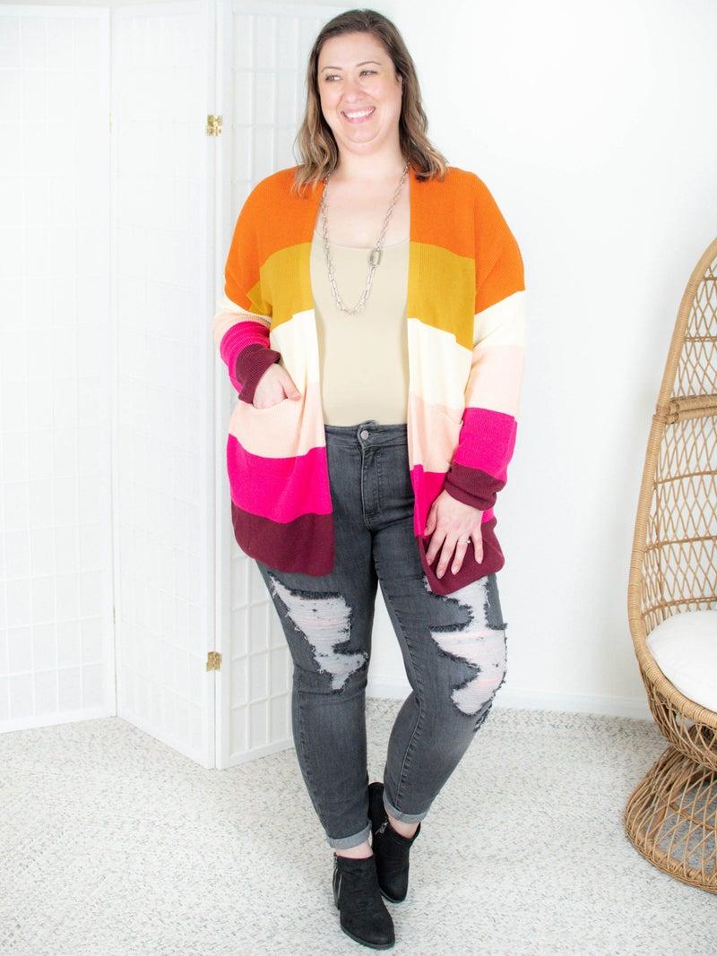PLUS/REG Colorblock Long Open Cardigan (Multiple Colors)