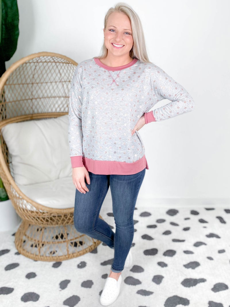 PLUS/REG Honeyme Grey Top With Sparkly Pink Polka Dots