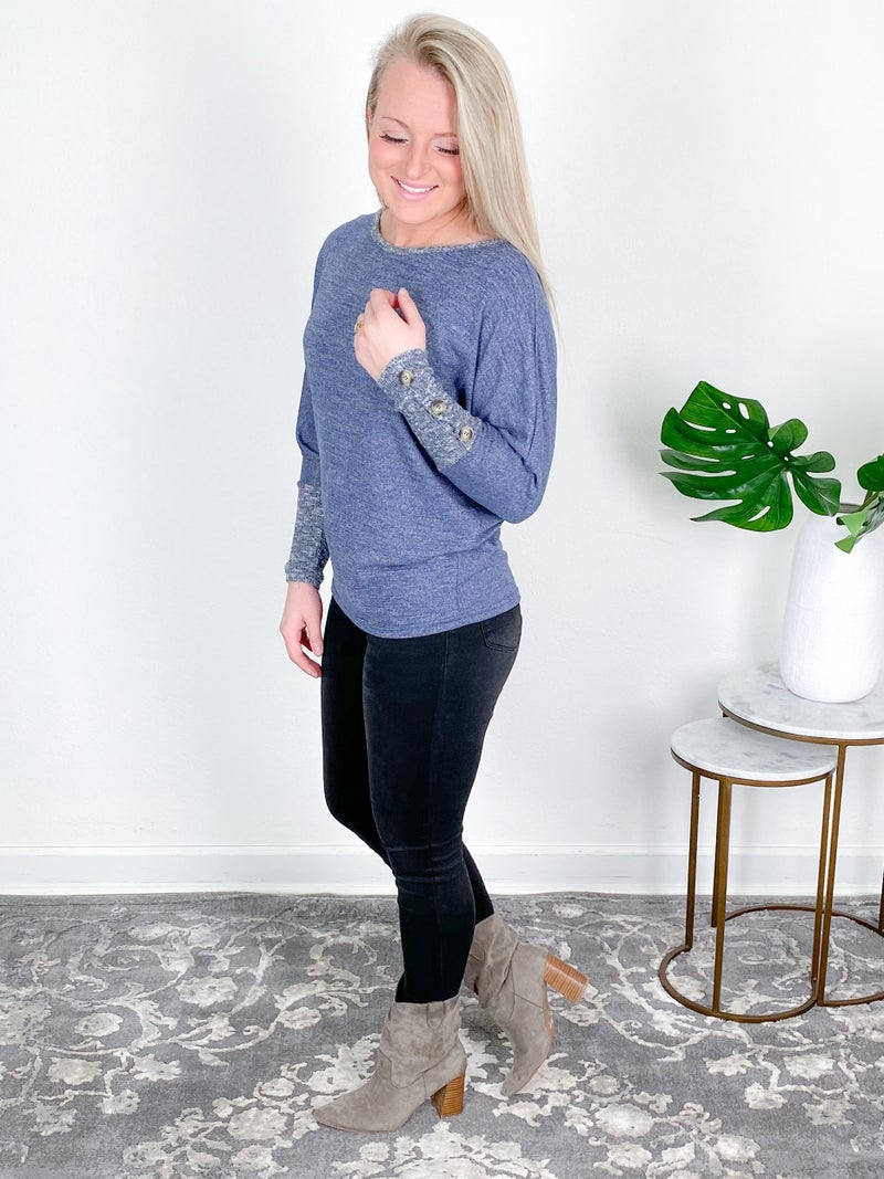 Long Sleeve Solid Top With Button Sleeve (Multiple Colors)