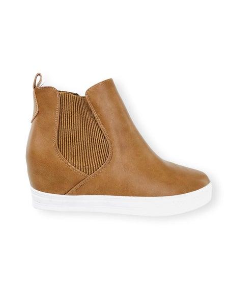 Tan Side Zip Sneaker Wedge