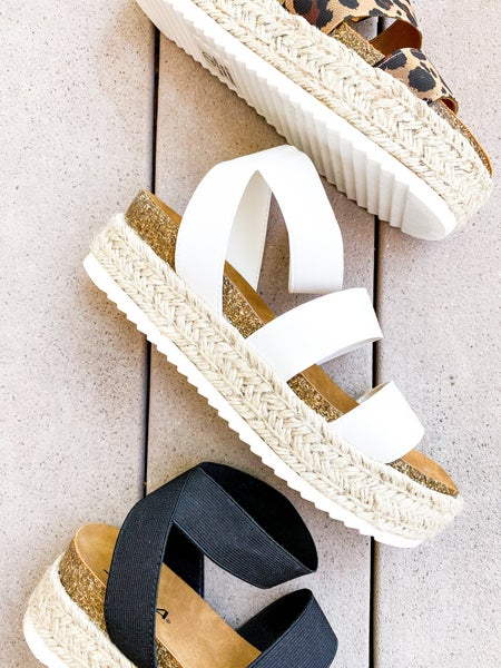 Caged Elastic Strap Espadrille Platform Sandal (Multiple Colors)