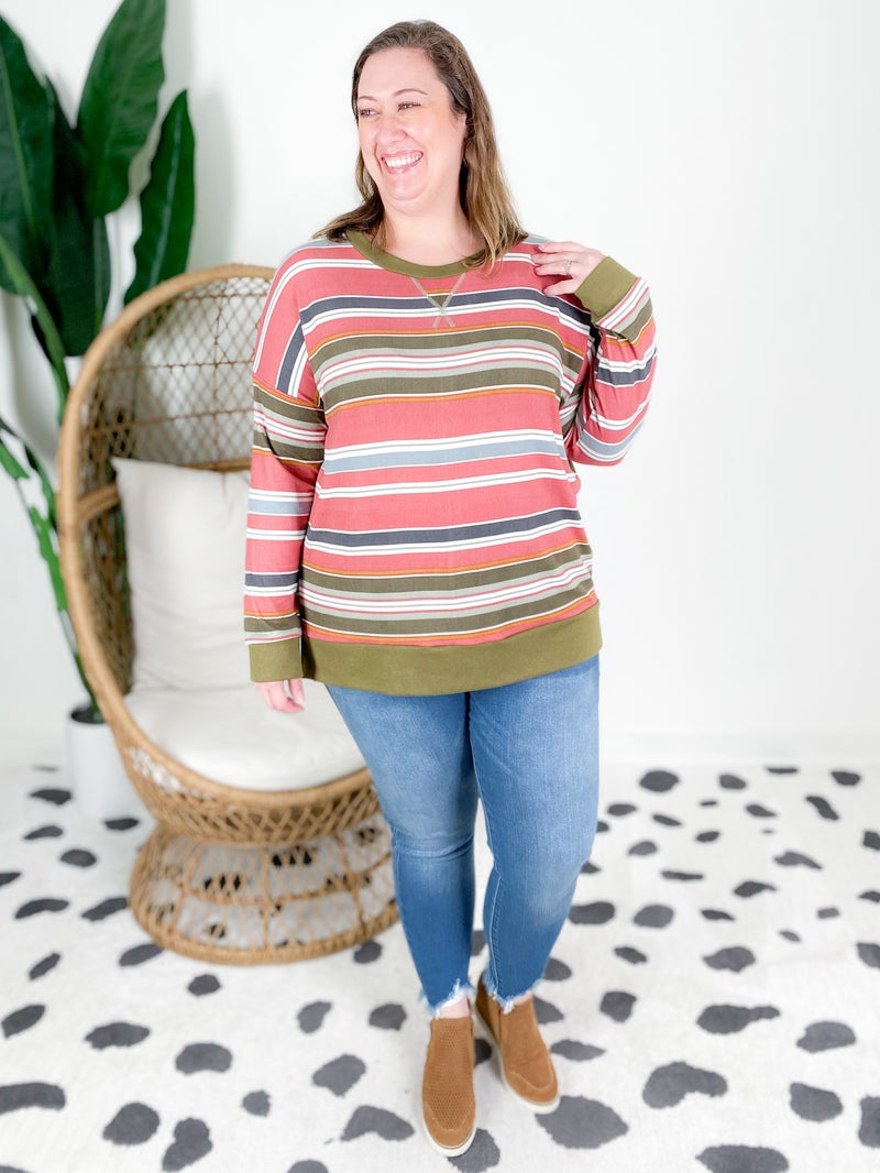 PLUS/REG Honeyme Mauve & Olive Stripe Top