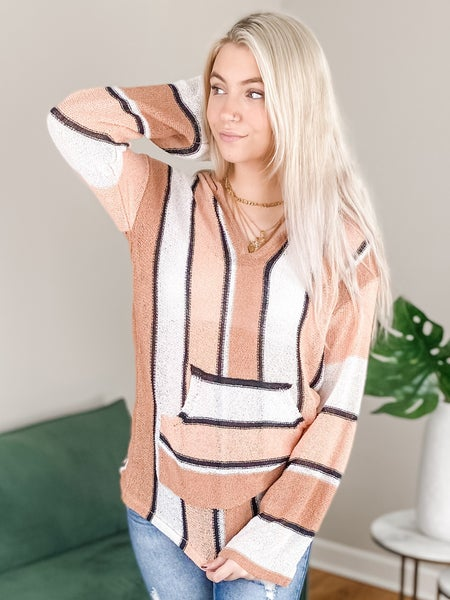 Long Sleeve Striped Hoodie Top With Kangaroo Pocket