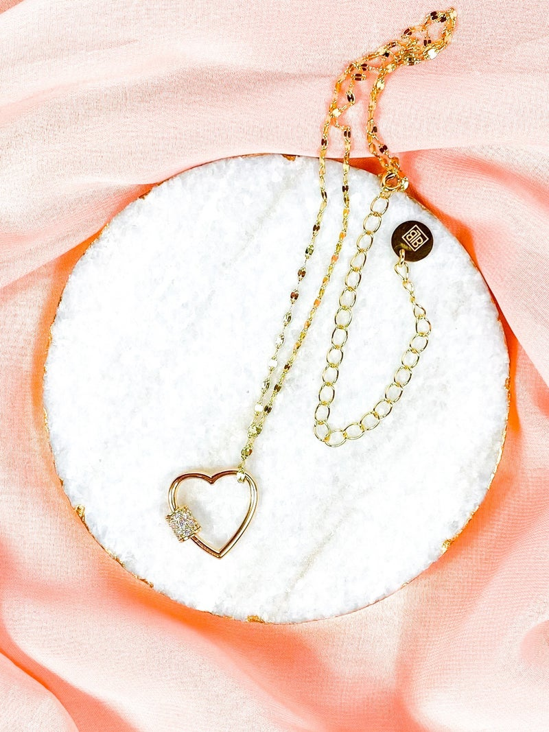 Heart Carabiner Gold Necklace