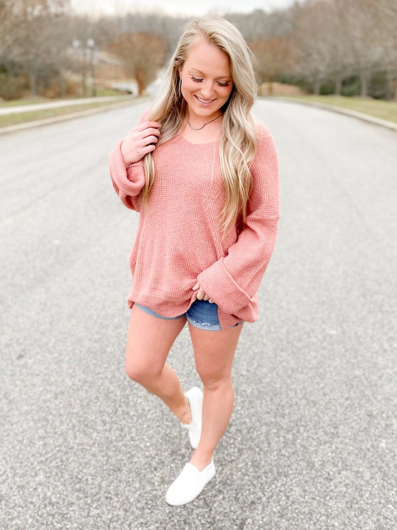 Solid Waffle Knit  V Neck Sweater (Multiple Colors)