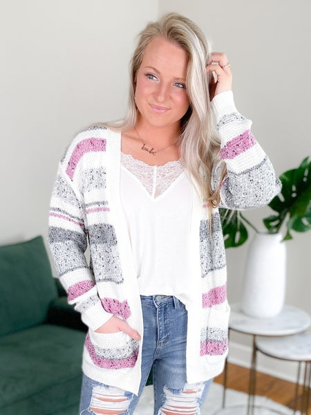 Open Front Striped Cardigan Sweater (Multiple Colors)