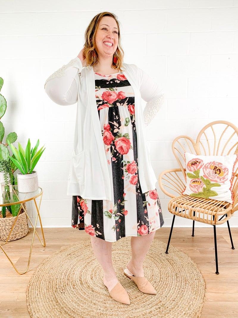 Floral Stripe Sleeveless Dress