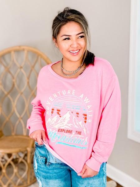 Adventure Awaits Pink Cropped Sweatshirt