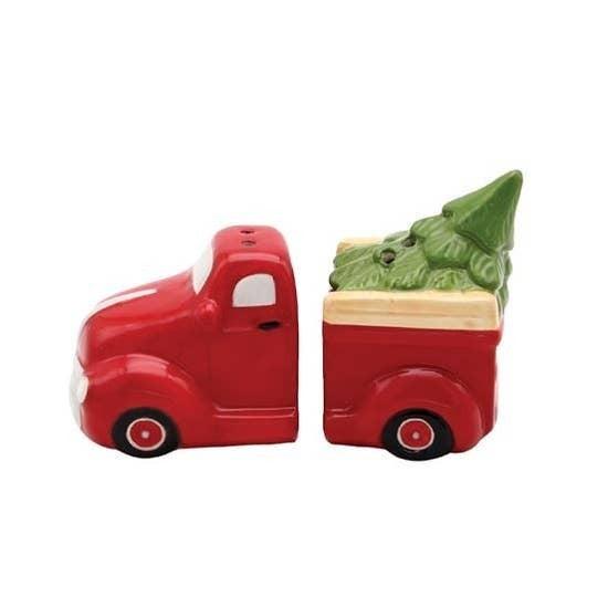 Rustic Christmas Red Truck Salt & Pepper Set