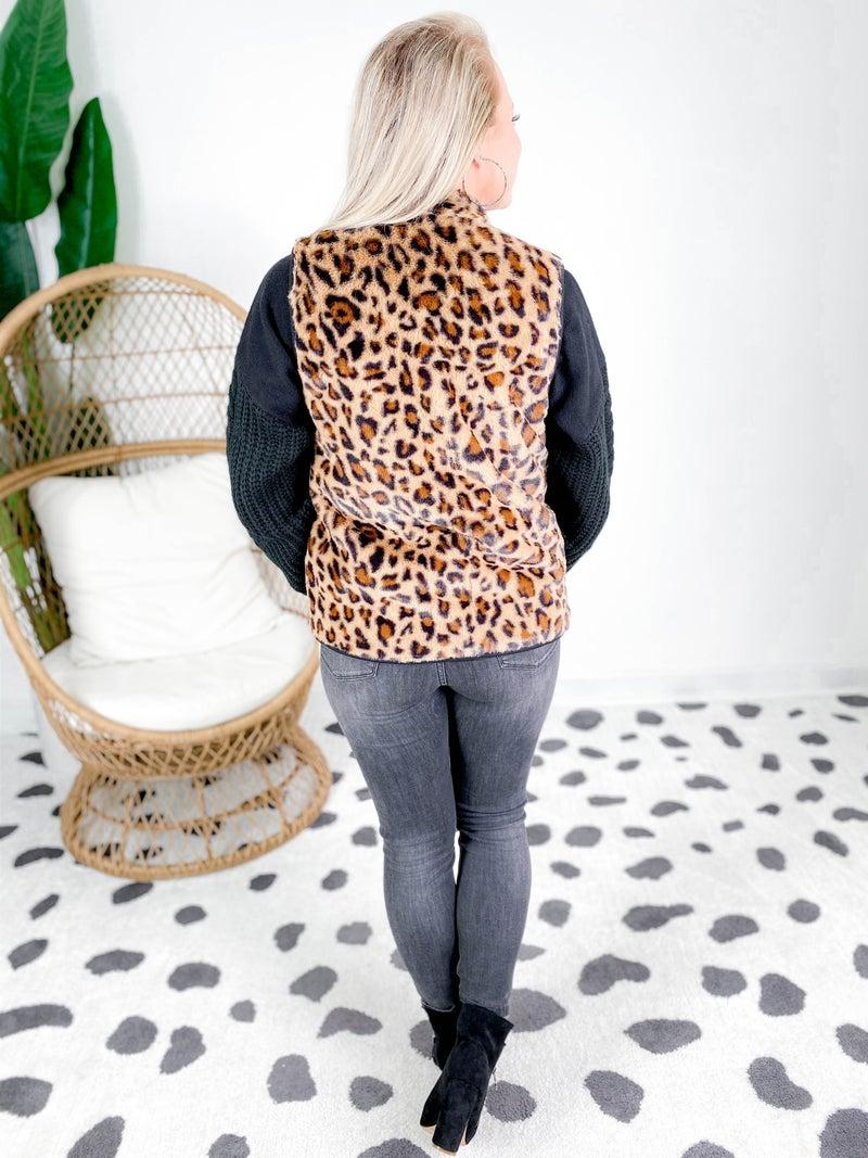 PLUS/REG Leopard Fur Vest