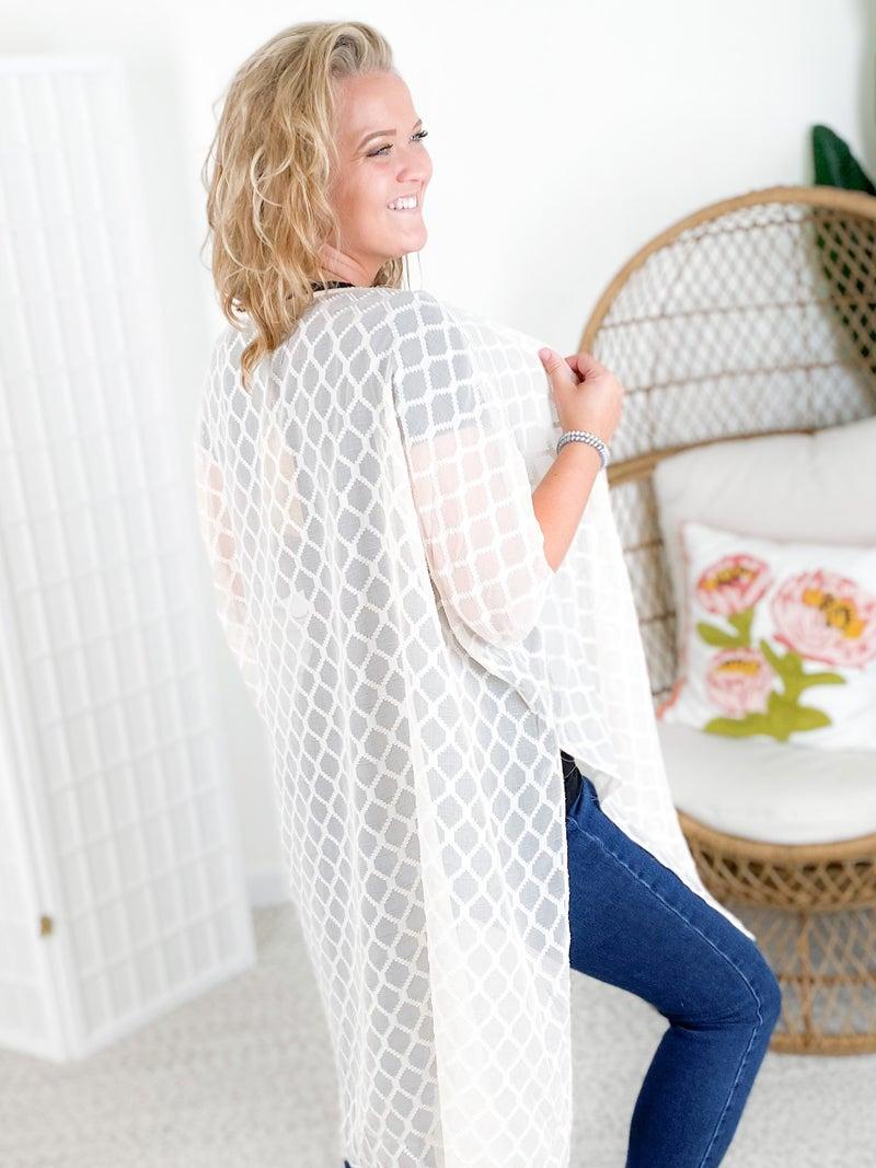 Diamond Texture Kimono Cardigan with Side Slits