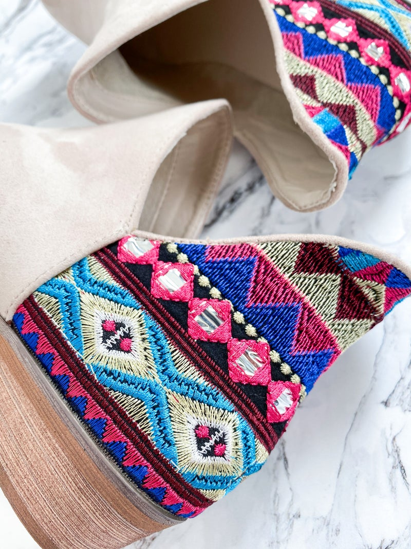Beige Embroidered Ankle Boots
