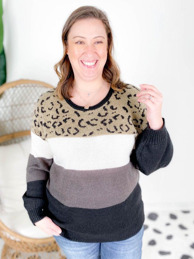 PLUS/REG Neutral Color Block Leopard Sweater