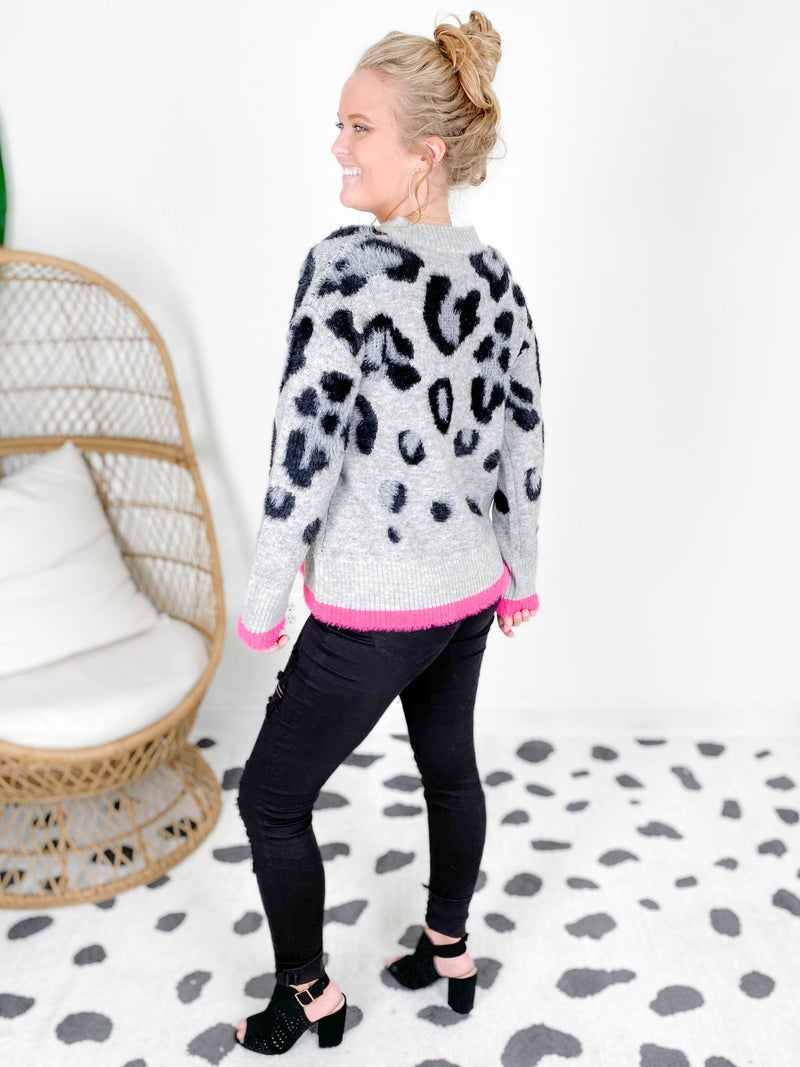 Soft Grey Leopard Sweater with Pink Trim