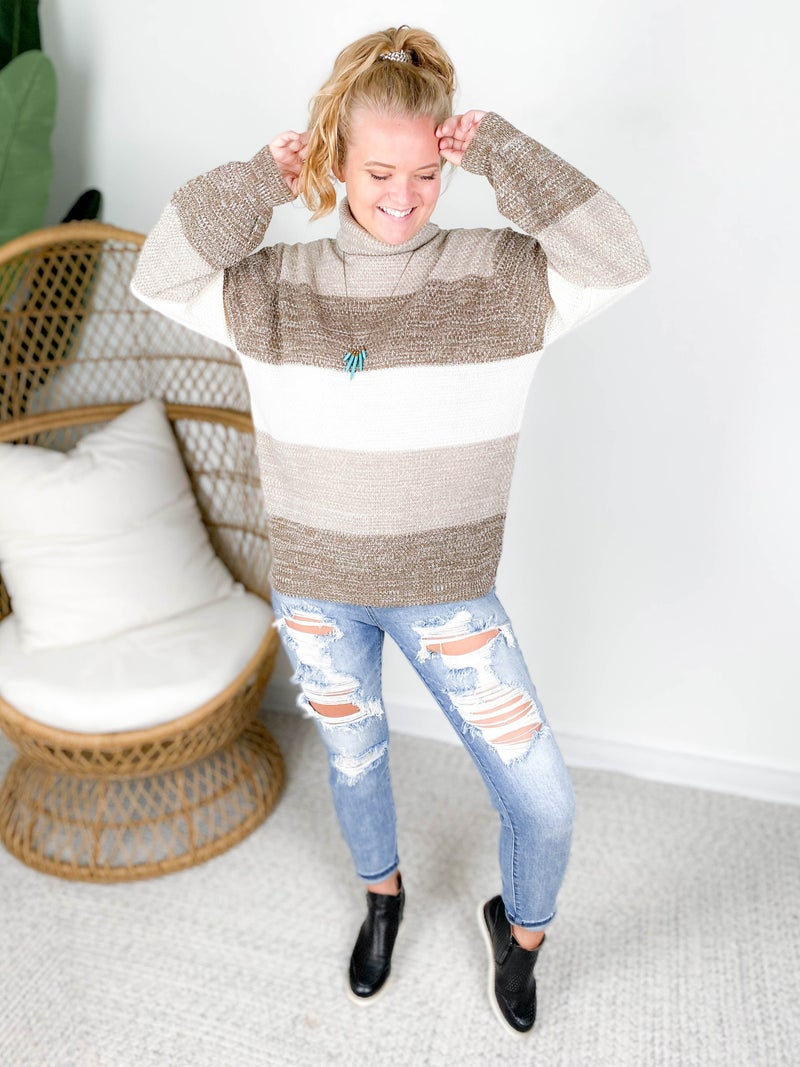 Door Buster! Zenana Heathered Colorblock Sweater with Balloon Sleeves (Multiple Colors)