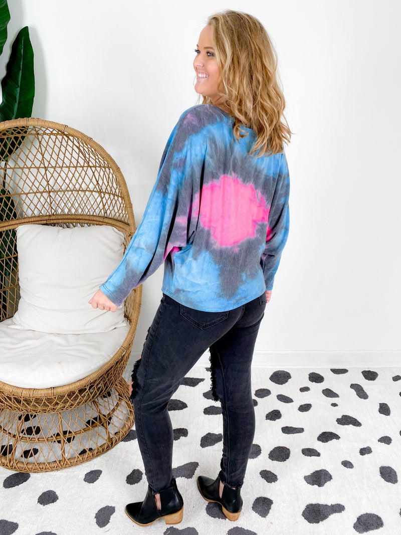 PLUS/REG Pink & Blue Tie Dye Dolman Sleeve Top