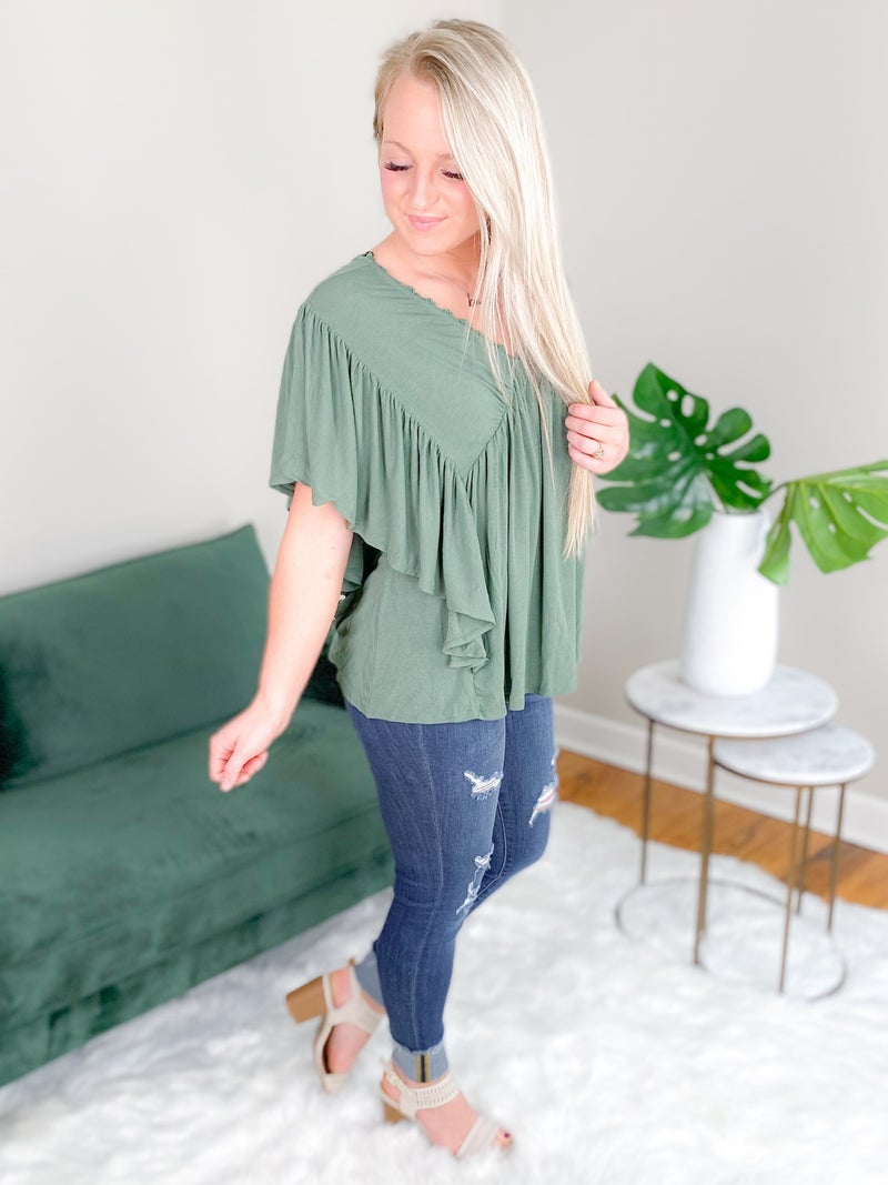 Solid V Neck Knit Top With Butterfly Sleeve