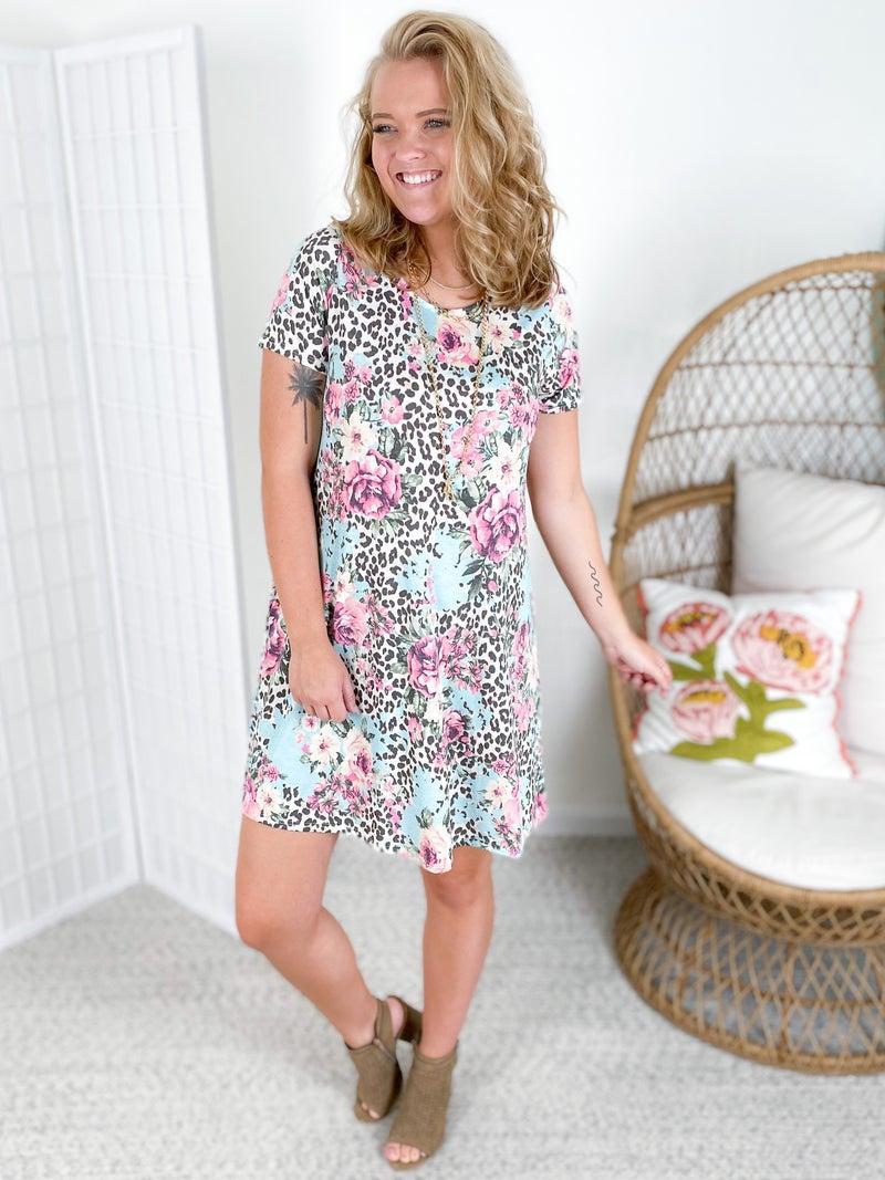 PLUS/REG Honeyme Leopard & Floral Print T-Shirt Dress