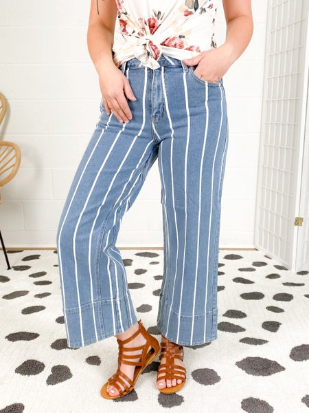 Striped High Rise Cropped Wide Leg Jeans