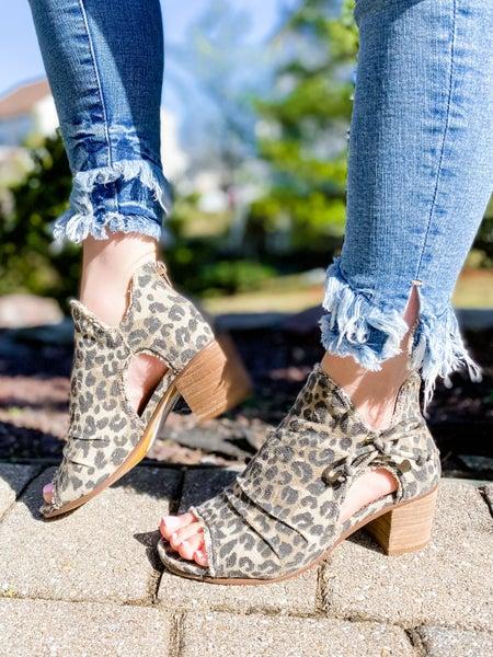 Leopard Distressed Open Toe Block Heel Booties