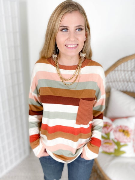 Long Sleeve Autumn Striped Top with Sweater Pocket
