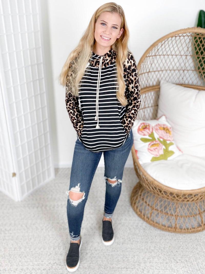 Leopard & Stripe Double Hoodie Top with Side Zipper
