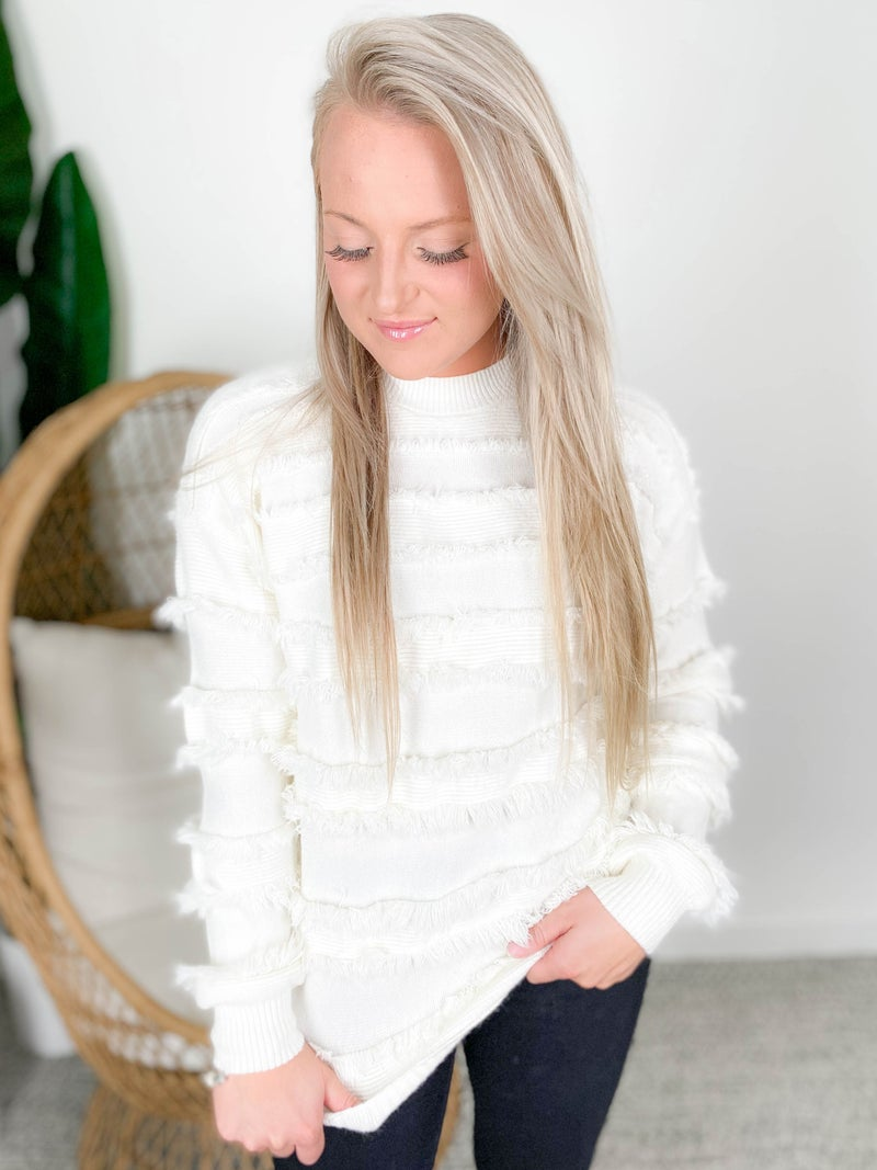 Ivory Crew Neck Sweater with Fringe Detail