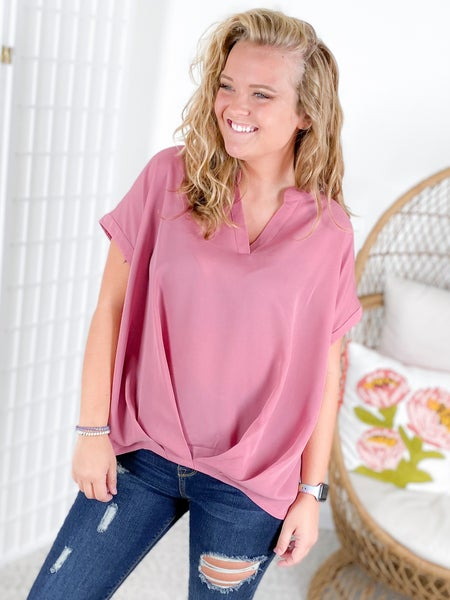 PLUS/REG Dusty Pink Blouse with Gathered Front Detail