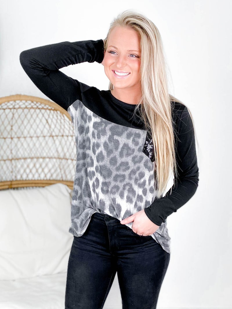 PLUS/REG Solid & Animal Print Top With Sequin Pocket