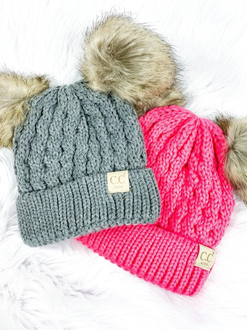 CC Kids Double Pom Knit Beanie (Multiple Colors)