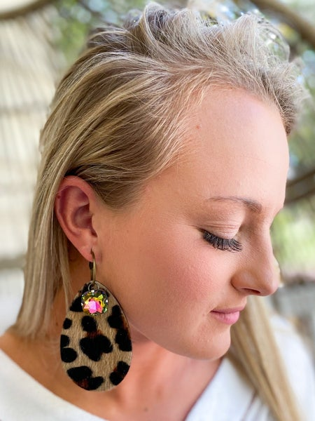 Keep it Gypsy leopard tear drop earring