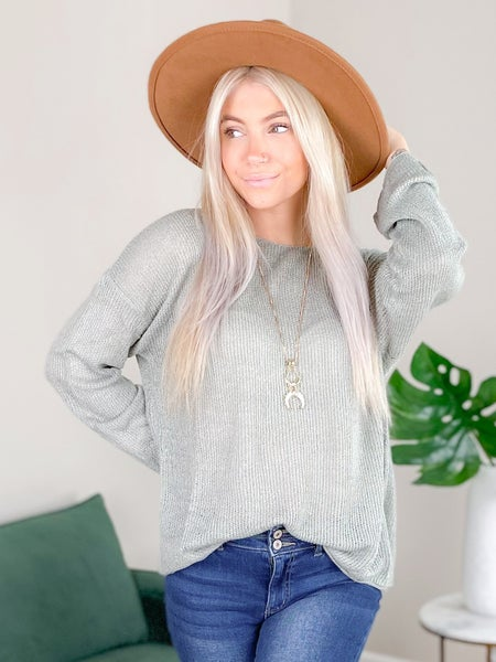 Solid Long Sleeve Knit Sweater With Button Down Back (Multiple Colors)