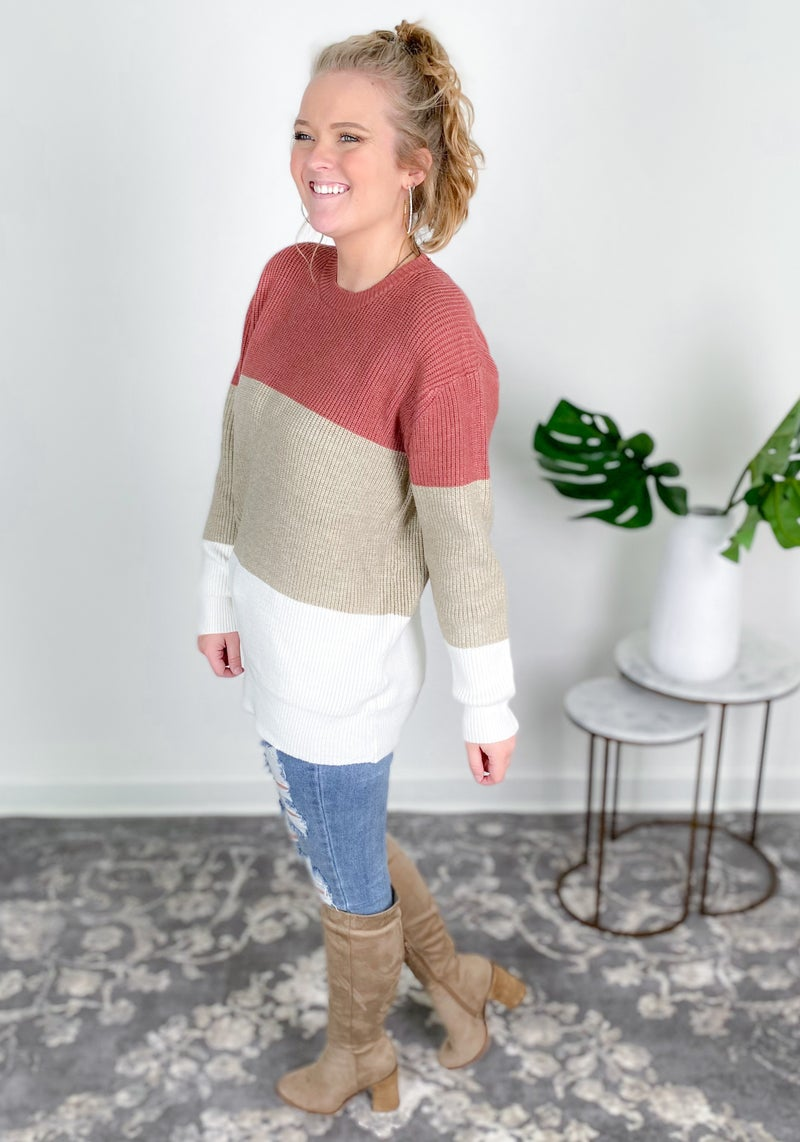 Color Block Knit Sweater Top (Multiple Colors)