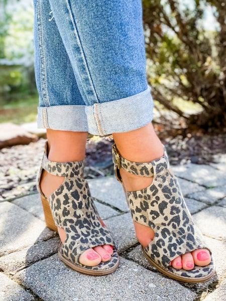 Tan Leopard Open Toe Side Cutout Wedge Shoes