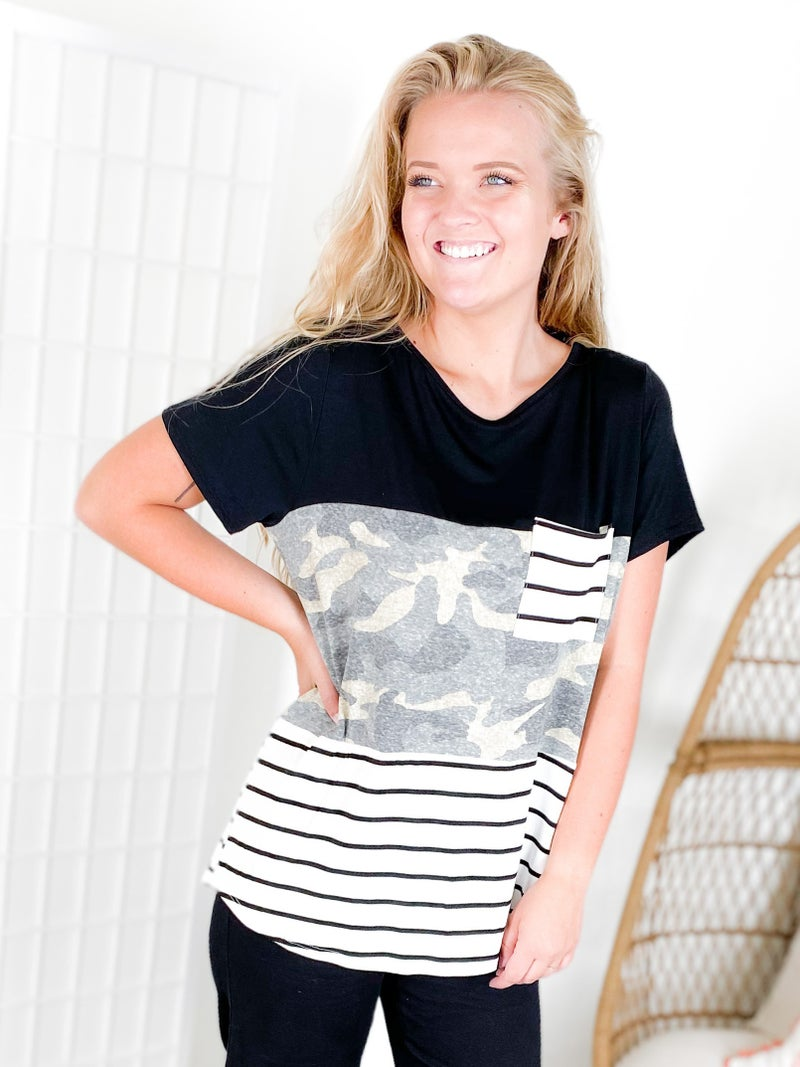 Black, Camo & Stripes Colorblock Pocket Top