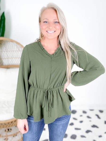 PLUS/REG Olive Ruffle Neckline Blouse with Waist Cinch
