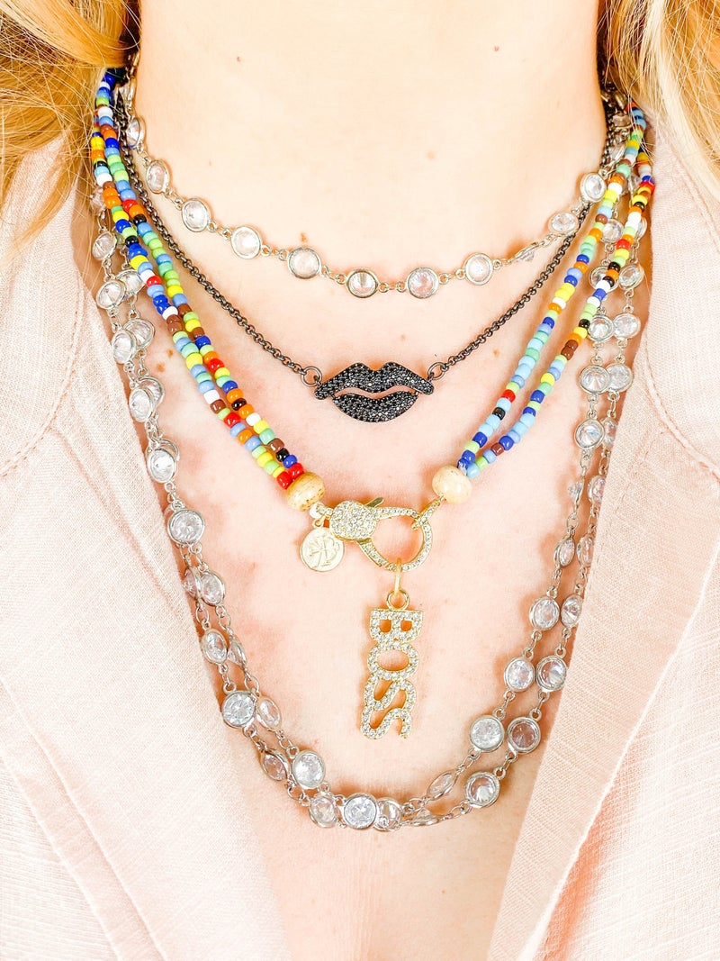 Karli Buxton Double Layered Seed Bead Necklace with Pave Clasp