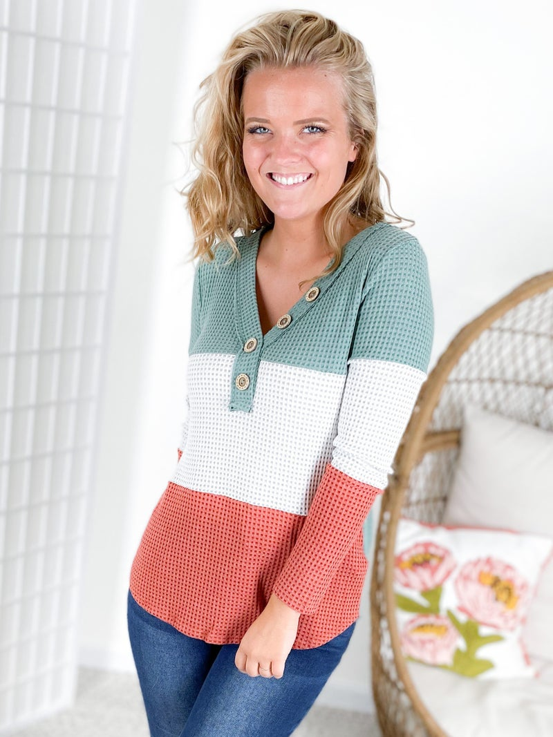Waffle Knit Color Block Top with Button Detail (Multiple Colors)