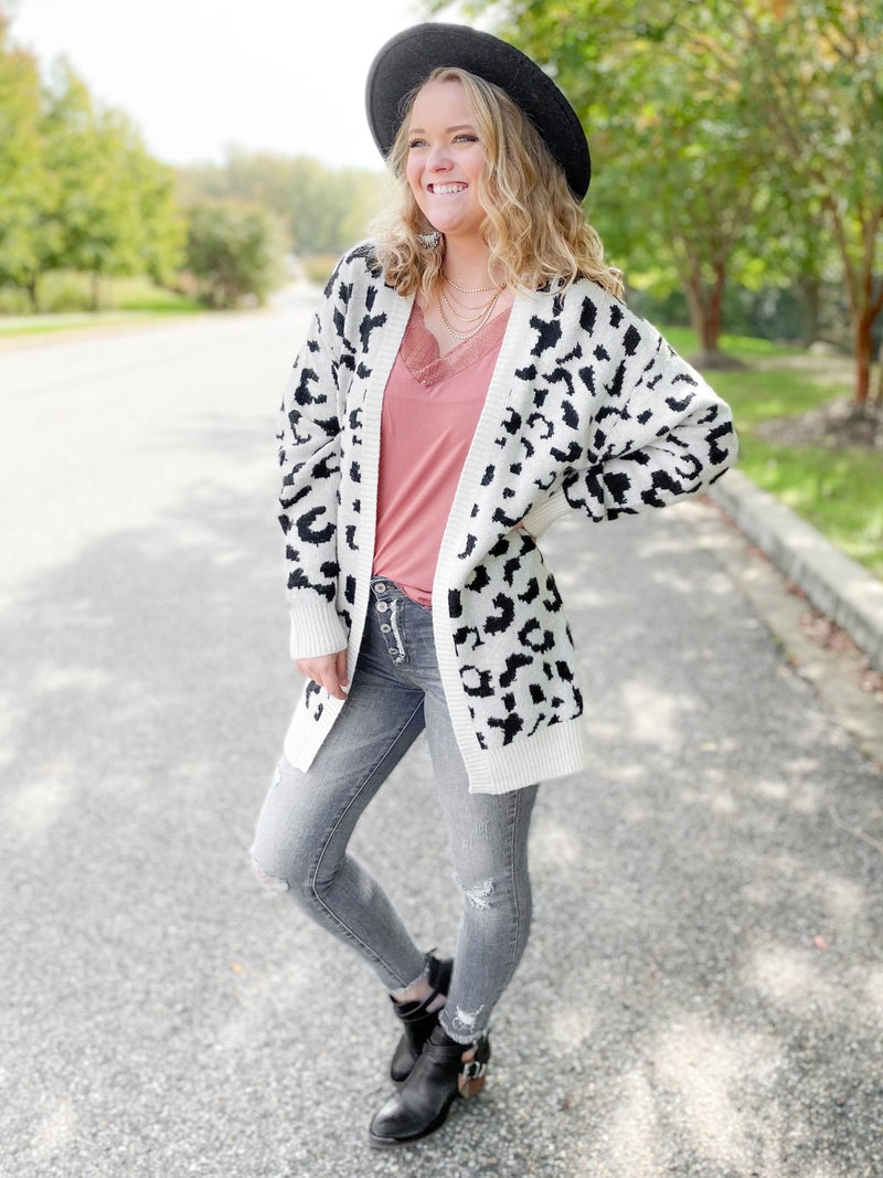 PLUS/REG Leopard Open Cardigan (Multiple Colors)