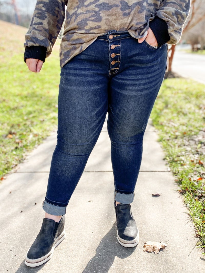 PLUS/REG Judy Blue Fly Girl Button Fly Non-Distressed Skinny Jeans