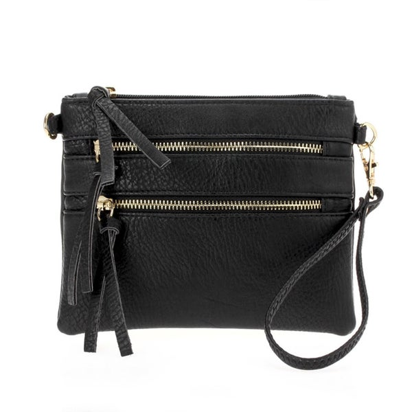 **Double Zipper Wallet Clutch with Strap (Multiple Colors)