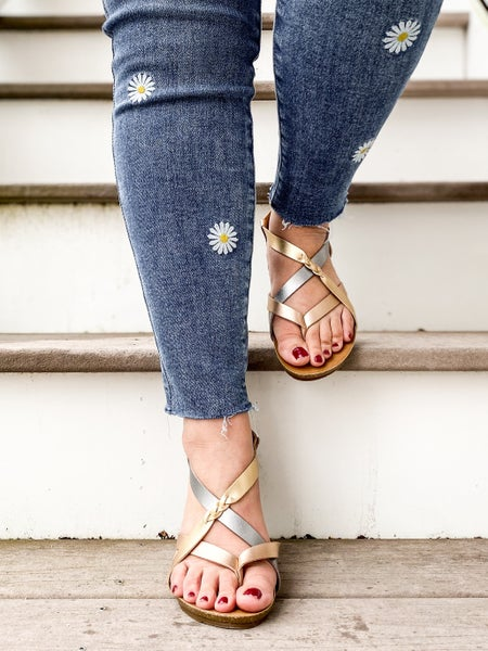 Metallic Blowfish Strappy Criss Cross Sandals With Braided Detail (Multiple Colors)