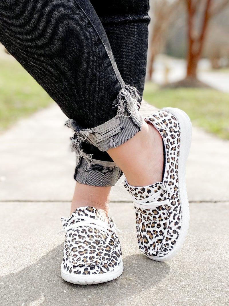 Hey Girl White Cheetah Slip On Sneakers