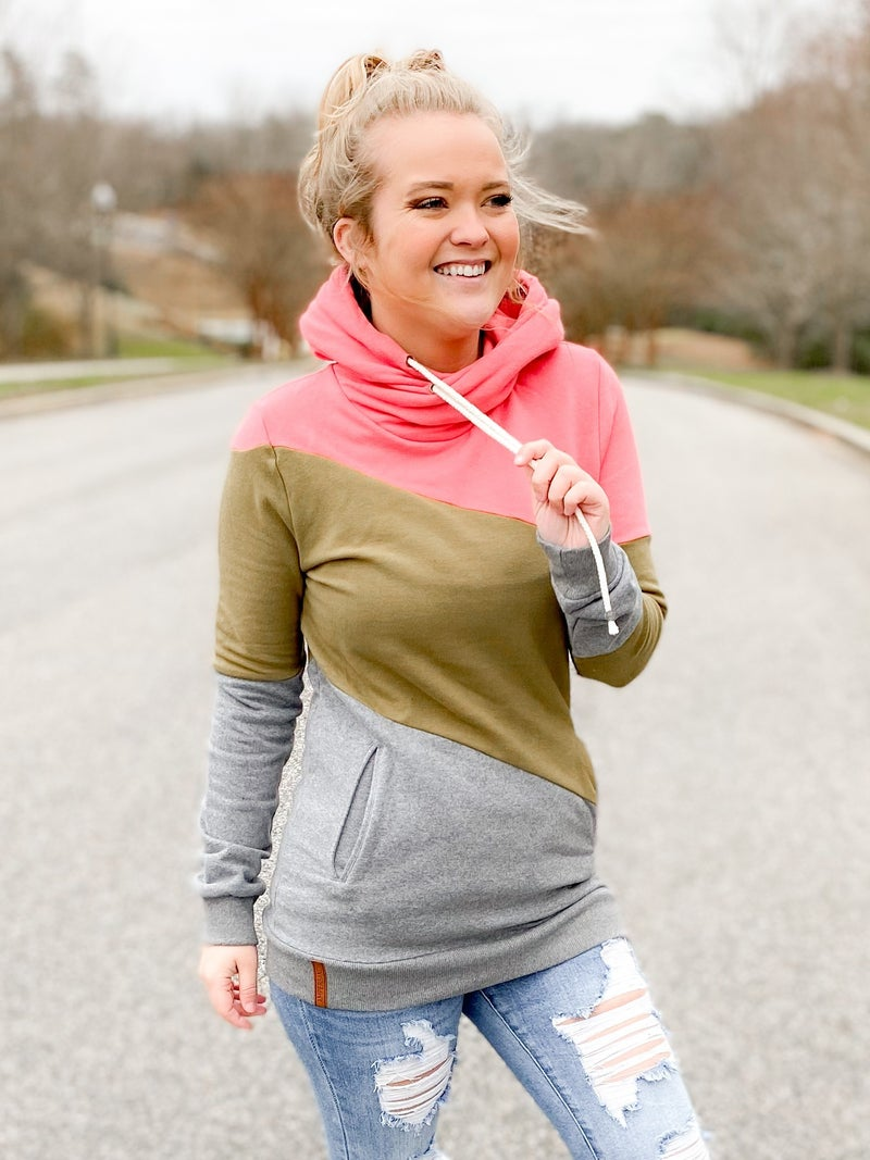 PLUS/REG Ampersand Coral Sage Color Block Double Hoodie